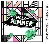 trendy vector summer cards...   Shutterstock .eps vector #583279108