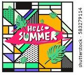 trendy vector summer cards...   Shutterstock .eps vector #583279114