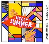 trendy vector summer cards...   Shutterstock .eps vector #583279174