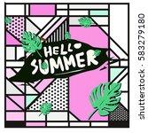 trendy vector summer cards...   Shutterstock .eps vector #583279180