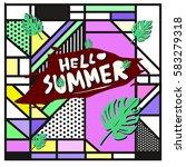 trendy vector summer cards...   Shutterstock .eps vector #583279318