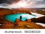 exotic view of the geothermal... | Shutterstock . vector #583280320