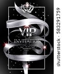 vip invitation card with silver ... | Shutterstock .eps vector #583291759