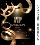 vip invitation card with gold... | Shutterstock .eps vector #583291774