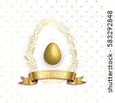 happy easter template with gold ... | Shutterstock .eps vector #583292848