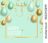 happy easter template with gold ... | Shutterstock .eps vector #583292899