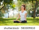 yoga outdoor. happy woman doing ... | Shutterstock . vector #583309810