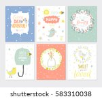 cute card set with spring and...   Shutterstock .eps vector #583310038
