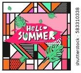 trendy vector summer cards...   Shutterstock .eps vector #583310338