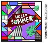 trendy vector summer cards...   Shutterstock .eps vector #583310350