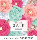 spring sale poster with... | Shutterstock .eps vector #583312150