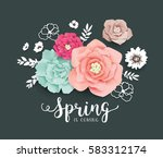 spring poster with beautiful... | Shutterstock .eps vector #583312174