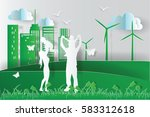 green environment happy family... | Shutterstock .eps vector #583312618