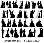 isolated silhouettes... | Shutterstock .eps vector #583313560