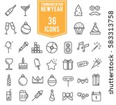 happy new year icons set  line... | Shutterstock .eps vector #583313758