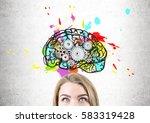 close up of a blond woman head... | Shutterstock . vector #583319428