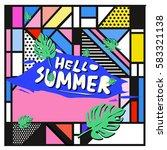 trendy vector summer cards...   Shutterstock .eps vector #583321138