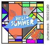 trendy vector summer cards...   Shutterstock .eps vector #583321180