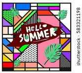 trendy vector summer cards...   Shutterstock .eps vector #583321198