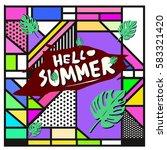trendy vector summer cards...   Shutterstock .eps vector #583321420