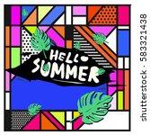 trendy vector summer cards...   Shutterstock .eps vector #583321438