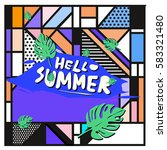 trendy vector summer cards...   Shutterstock .eps vector #583321480
