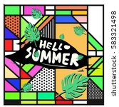 trendy vector summer cards...   Shutterstock .eps vector #583321498