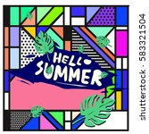 trendy vector summer cards...   Shutterstock .eps vector #583321504