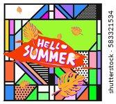trendy vector summer cards...   Shutterstock .eps vector #583321534