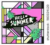 trendy vector summer cards...   Shutterstock .eps vector #583324120