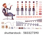 Male manager character creation set. Full length, different views, isolated against white background. Build your own design. Cartoon flat-style infographic illustration | Shutterstock vector #583327390