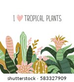 hand drawn tropical house... | Shutterstock .eps vector #583327909