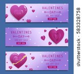 valentines day sale flyers set... | Shutterstock .eps vector #583328758
