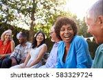 group of mature friends... | Shutterstock . vector #583329724