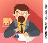 bureaucrat with papers and... | Shutterstock .eps vector #583332400