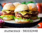 homemade burgers with ketchup...   Shutterstock . vector #583332448