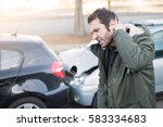 man feeling bad after one car... | Shutterstock . vector #583334683