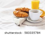 bed breakfast with coffee cup ... | Shutterstock . vector #583335784