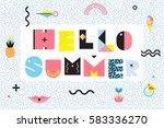 hello summer memphis style... | Shutterstock .eps vector #583336270