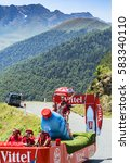 Small photo of COL D'ASPIN,FRANCE - JUL 15: Vittel Caravan during the passing of the Publicity Caravan on the road to Col D'Aspin in Pyrenees Mountains during the stage 11 of Le Tour de France 2015.