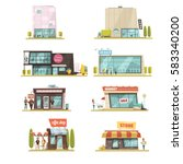 supermarket building set with... | Shutterstock .eps vector #583340200