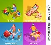 family holidays birthday... | Shutterstock .eps vector #583344514