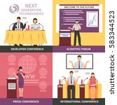 four square conference hall... | Shutterstock .eps vector #583344523