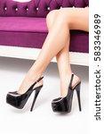 luxury black high heel shoes in ... | Shutterstock . vector #583346989