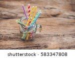 vintage mason jar and... | Shutterstock . vector #583347808