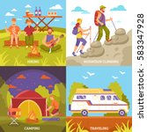 camping hiking design concept... | Shutterstock .eps vector #583347928