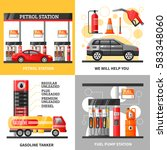 gas and petrol station 2x2... | Shutterstock .eps vector #583348060