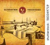 restaurant menu design. vector... | Shutterstock .eps vector #583349719