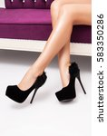 black high heels shoes on... | Shutterstock . vector #583350286