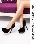 black high heels shoes on... | Shutterstock . vector #583350286